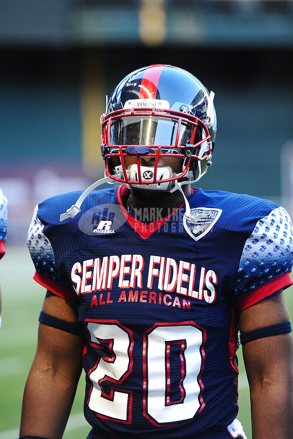 Jan. 3, 2012; Phoenix, AZ, USA; East inside linebacker Jordan Richmond against the West during the Semper Fidelis All-American Bowl high school football game at Chase Field. Mandatory Credit: Mark J. Rebilas-