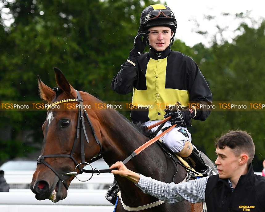 Joshua Bryan onboard Swashbuckle enter the winners enclosure after winning The H S Lester Memorial Handicap, during Whitsbury Manor Stud Bibury Cup Day Racing at Salisbury Racecourse on 28th June 2017