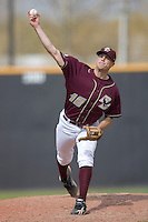 Starting pitcher JB McDonald #12 of the Boston College Eagles in action versus the Wake Forest Demon Deacons at Wake Forest Baseball Park April 11, 2009 in Winston-Salem, NC. (Photo by Brian Westerholt / Four Seam Images)