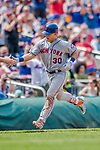 29 April 2017: New York Mets outfielder Michael Conforto rounds third after hitting a 2-run homer in the 5th inning against the Washington Nationals at Nationals Park in Washington, DC. The Mets defeated the Nationals 5-3 to take the second game of their 3-game weekend series. Mandatory Credit: Ed Wolfstein Photo *** RAW (NEF) Image File Available ***