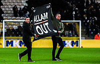 Fans demonstrate after the Sky Bet Championship match between Hull City and Sheff United at the KC Stadium, Kingston upon Hull, England on 23 February 2018. Photo by Stephen Buckley / PRiME Media Images.