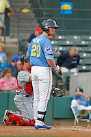 Myrtle Beach Pelicans outfielder Billy McKinney (20) at bat during a game against the Salem Red Sox at Ticketreturn.com Field at Pelicans Ballpark on May 6, 2015 in Myrtle Beach, South Carolina.  Myrtle Beach defeated Salem 4-2. (Robert Gurganus/Four Seam Images)