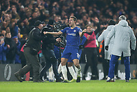 Chelsea's Cesar Azpilicueta celebrates at the end of the game<br /> <br /> Photographer Rob Newell/CameraSport<br /> <br /> The Carabao Cup Semi-Final Second Leg - Chelsea v Tottenham Hotspur - Thursday 24th January 2019 - Stamford Bridge - London<br />  <br /> World Copyright © 2018 CameraSport. All rights reserved. 43 Linden Ave. Countesthorpe. Leicester. England. LE8 5PG - Tel: +44 (0) 116 277 4147 - admin@camerasport.com - www.camerasport.com