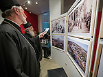 """Patriarch of the Serbian Orthodox Church His Holyness Irinej and His Grace Irinej, Bishop of Australia views the exhibition opening at the National Ethnographic Museum of the photo show """"Orthodoxy in America"""" with photos by Larry Angier of the iconography of Miloje Milinković ."""