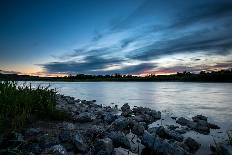 Sunset over the Red Deer River in Dinosaur Provincial Park, Alberta, Canada