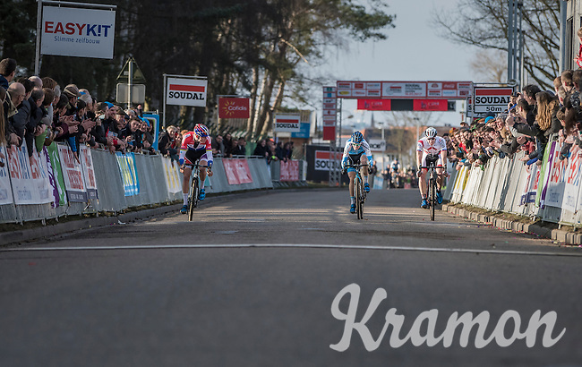 Mathieu Van der Poel (NED/Beobank-Corendon) sprinting against Kevin Pauwels (BEL/Marlux - Napoleon Games) & Laurens Sweeck (BEL/Era-Circus) towards the finish line<br /> <br /> men's race<br /> CX Soudal Classics Leuven/Belgium 2017
