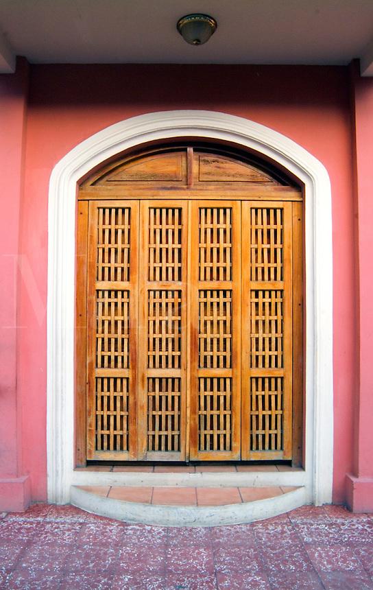 Wooden Door on a Colonial Building