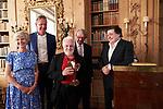 Germany, Berlin, 2018/05/28<br /> <br /> Verleihung des Scopus Award an Henryk M. Broder am 28/5/2018. V.l.: Froide Springer, Matthias Döpfner, Henryk M. Broder, ?, Leon de Winter. (Photo by Gregor Zielke)