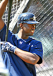 8 March 2011: New York Yankees' outfielder Melky Mesa awaits his turn in the batting cage prior to a Spring Training game against the Atlanta Braves at Champion Park in Orlando, Florida. The Yankees edged out the Braves 5-4 in Grapefruit League action. Mandatory Credit: Ed Wolfstein Photo