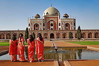 Young Indian ladies and Humayun's Tomb, Delhi, India