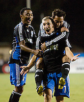 13 September 2008: Earthquakes' James Riley, Arturo Alvarez celebrate with Ronnie O'Brien after O'Brien scored a goal during the first half of the game against the Dynamo at Buck Shaw Stadium in Santa Clara, California.   San Jose Earthquakes tied Houston Dynamo, 1-1.