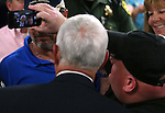 Republican Vice Presidential candidate Mike Pence poses for photos and talks with members of the crowd following a rally in Carson City, Nev., on Monday, Aug. 1, 2016. Cathleen Allison/Las Vegas Review Journal