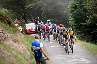 Team Jumbo-Visma setting the pace in the first (GC leaders) peloton up the very steep section (+16%) of the Mur de Péguère (Cat1/1375m/9.3km/7.9%)<br /> <br /> Stage 15: Limoux to Foix (185km)<br /> 106th Tour de France 2019 (2.UWT)<br /> <br /> ©kramon