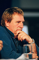 File Photo, Montreal (Qc) CANADA<br /> Gerard Depardieu Press Conference  during the 1999 World Film Festival.<br /> <br /> ChloÈe Sainte-Marie  Gilles Carle  aet Serge Losique  ‡ la PremiËre de PUDDING CHOMEUR lors du Festival des Films du Monde 1999<br /> Photo : (c) 1999. Pierre Rousel
