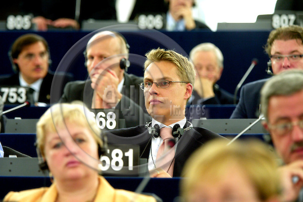 STRASBOURG - FRANCE  -20 JULY 2004--.Finnish MEP Alexander STUBB at his first session at the European Parliament.--PHOTO: ERIK LUNTANG / EUP-IMAGES