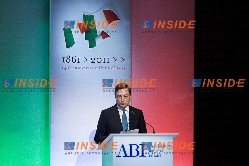 ABI ASSEMBLEA ANNUALE..NELLA FOTO IL GOVERNATORE DELLA BANCA D ITALIA MARIO DRAGHI ..ROMA 13 LUGLIO  2011..PHOTO  SERENA CREMASCHI INSIDEFOTO..............................