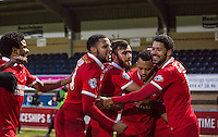Celebrations as Calaum Jahraldo-Martin (2nd right) of Leyton Orient scores the second goal during the Sky Bet League 2 match between Wycombe Wanderers and Leyton Orient at Adams Park, High Wycombe, England on 23 January 2016. Photo by Massimo Martino / PRiME Media Images.
