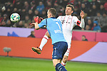 12.01.2018, BayArena, Leverkusen , GER, 1.FBL., Bayer 04 Leverkusen vs. FC Bayern M&uuml;nchen<br /> im Bild / picture shows: <br /> Torchance von Thomas M&uuml;ller / Mueller (Bayern Muenchen #25),   scheitert an Bernd Leno Torwart (Leverkusen #1), <br /> <br /> <br /> Foto &copy; nordphoto / Meuter