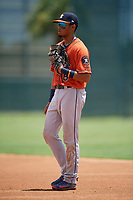 GCL Astros first baseman Jose Alvarez (6) during a Gulf Coast League game against the GCL Marlins on August 8, 2019 at the Roger Dean Chevrolet Stadium Complex in Jupiter, Florida.  GCL Marlins defeated GCL Astros 5-4.  (Mike Janes/Four Seam Images)