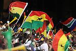 13 JUN 2010: Ghana fans celebrate a goal. The Serbia National Team lost 0-1 to the Ghana National Team at Loftus Versfeld Stadium in Tshwane/Pretoria, South Africa in a 2010 FIFA World Cup Group D match.