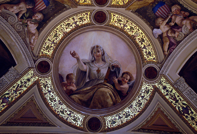 Constantino Brumidi symbol of religion in the President's room of the Capitol.
