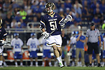 DURHAM, NC - APRIL 28: Notre Dame's Brendan Collins. The Duke University Blue Devils played the University of Notre Dame Fighting Irish on April 28, 2017, at Koskinen Stadium in Durham, NC in a 2017 ACC Men's Lacrosse Tournament Semifinal match. Notre Dame won the game 7-6.