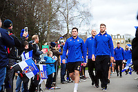 The Bath Rugby team make their way to the changing rooms prior to the match. Aviva Premiership match, between Bath Rugby and Saracens on April 1, 2016 at the Recreation Ground in Bath, England. Photo by: Patrick Khachfe / Onside Images