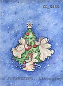 Interlitho, Theresa, CHRISTMAS CHILDREN, paintings, tree, 3 angels, hearts, KL5866,#XK# Engel, angeles
