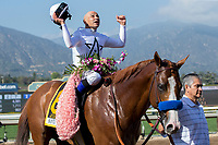 ARCADIA, CA  APRIL 7: #6 Justify, ridden by Mike Smith, after winning the Santa Anita Derby (Grade l) on April 7, 2018, at Santa Anita Park in Arcadia, Ca.  (Photo by Casey Phillips/ Eclipse Sportswire/ Getty Images)