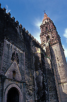 Facade of the 16th-century cathedral or Templo de la Asuncion de Maria in Cuernavaca, Morelos, Mexico.