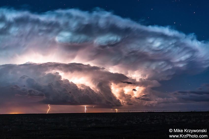 Supercell thunderstorm illuminated by lightning at night in Nebraska, May 19, 2014