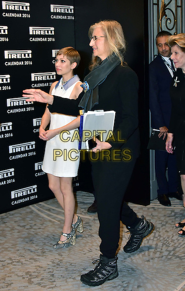 LONDON, ENGLAND - NOVEMBER 30: Tavi Gevinson, Annie Leibovitz at a photocall for the launch of the 2016 Pirelli calendar in London on November 30, 2015<br /> CAP/JOR<br /> &copy;JOR/Capital Pictures