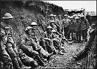 BNPS.co.uk (01202 558833)Pic: HistoryPress/Wikimedia/BNPS<br /> <br /> 1st Battalion Royal Irish Ri es ration party in communication trench 1 July 1916. <br /> <br /> The remarkable story of a humble street which was described by the king as 'the bravest in England' is told in a new book.<br /> <br /> The inhabitants of Chapel Street in Altrincham, Greater Manchester, displayed an unrivalled devotion of duty when Lord Horatio Kitchener made the rallying call for men to enlist in the First World War.<br /> <br /> From the tight-knit community of just 60 houses, a staggering 161 men volunteered - 81 of them on the first day.<br /> <br /> Tragically, however, 29 men from the street were killed in action, more than from any other street in England.