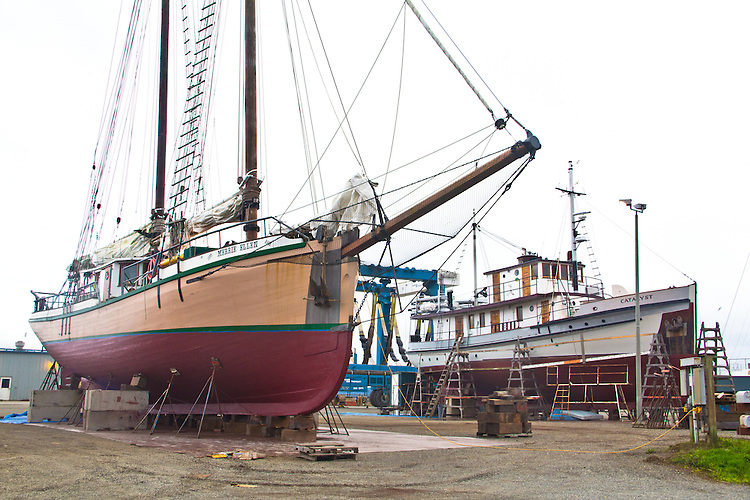 Schooner Merrie Ellen, M/V Catalyst, Port Townsend, Port of Port Townsend, Boat Haven, hauled out on the hard for maintenance, winter, Puget Sound, Jefferson County, Washington State, Pacific Northwest,