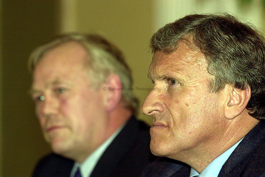 Photo Ken Brown.31.10.2000 EFDR Press conference to outline their position on promotion and relegation and the relationship with the second division after the resignation of Rob Andrew..Tom Walkinshaw with Peter Wheeler in the background