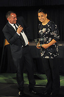 Mark Stafford chats with Women's Player of the Year Kiri Mei at the Wellington Rugby Union Tui Awards at the Embassy Theatre, Wellington, New Zealand on Tuesday, 30 October 2012. Photo: Dave Lintott / lintottphoto.co.nz
