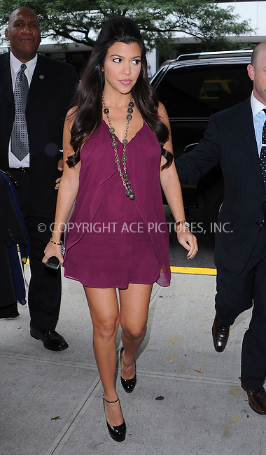 WWW.ACEPIXS.COM . . . . . ....August 13 2009, New York City....TV personality Kourtney Kardashain, who recently announced that she is pregnant, going into a TV show in Manhattan on August 13 2009 in New York City....Please byline: KRISTIN CALLAHAN - ACEPIXS.COM.. . . . . . ..Ace Pictures, Inc:  ..(212) 243-8787 or (646) 679 0430..e-mail: picturedesk@acepixs.com..web: http://www.acepixs.com