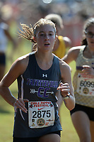 NWA Democrat-Gazette/ANDY SHUPE<br /> Fayetteville's Jessica Kirchner nears the finish line Saturday, Oct. 5, 2019, during the Chile Pepper Cross Country Festival at Agri Park in Fayetteville. Visit nwadg.com/photos to see more photographs from the races.