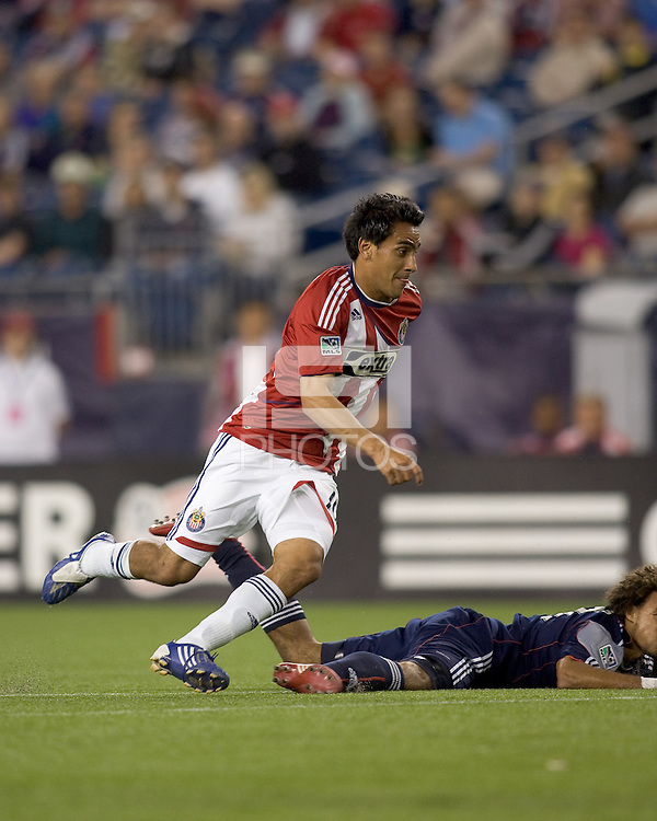 Chivas USA midfielder Jesus Padilla (10) on his way to his first goal of the night. Chivas USA defeated the New England Revolution, 4-0, at Gillette Stadium on May 5, 2010.