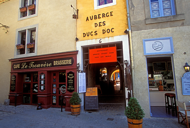Restaurants, Auberge des Ducs d'Oc and Le Trouvere, La Cite, town of Carcassonne, Languedoc Roussillon, France, Europe