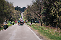 Team Movistar controlling the peloton<br /> <br /> 82nd Fl&egrave;che Wallonne 2018 (1.UWT)<br /> 1 Day Race: Seraing - Huy (198km)