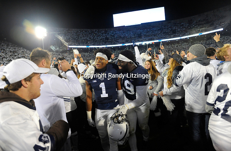 22 October 2016:  Penn State CB Christian Campbell (1) and DE Torrence Brown (19) celebrate as they walk off the field filled with students and fans. The Penn State Nittany Lions upset the #2 ranked Ohio State Buckeyes 24-21 at Beaver Stadium in State College, PA. (Photo by Randy Litzinger/Icon Sportswire)