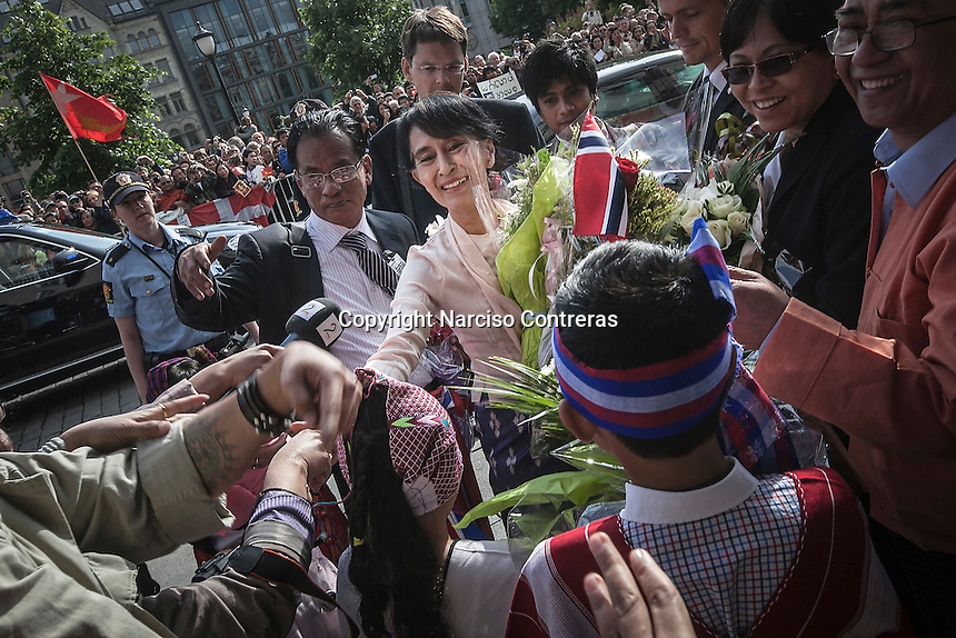 Burmese pro-democracy leader AUNG SAN SUU KYI arrives at the Grand Hotel in Oslo as she helds her first official diplomatic visit away from her country after 15 years of home arrest. She visits Switzerland, Norway, Ireland, Britain and France from June 13 to June 29 2012.
