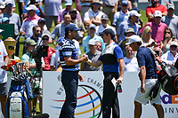 Jason Day (AUS) Rory McIlroy (NIR) on the 1st tee during the 1st round at the WGC Fedex, TPC Southwinds, Memphis, Tennessee, USA. 25/07/2019.<br /> Picture Ken Murray / Golffile.ie<br /> <br /> All photo usage must carry mandatory copyright credit (© Golffile | Ken Murray)