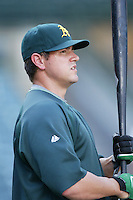 Jack Cust of the Oakland Athletics during batting practice before a game from the 2007 season at Angel Stadium in Anaheim, California. (Larry Goren/Four Seam Images)