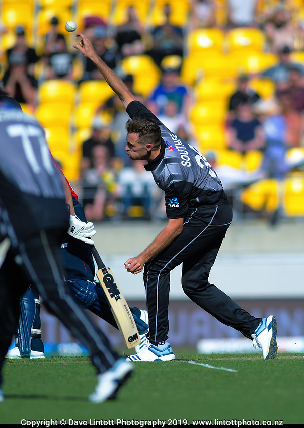 NZ's Tim Southee bowls. Twenty20 International cricket match between NZ Black Caps and England at Westpac Stadium in Wellington, New Zealand on Sunday, 3 November 2019. Photo: Dave Lintott / lintottphoto.co.nz