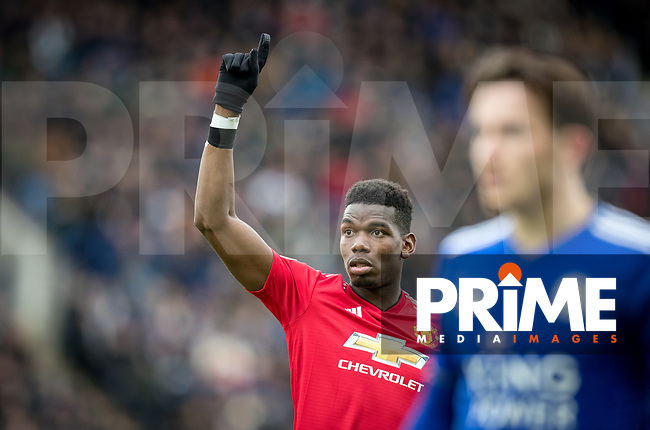 Paul Pogba of Man Utd during the Premier League match between Leicester City and Manchester United at the King Power Stadium, Leicester, England on 3 February 2019. Photo by Andy Rowland.