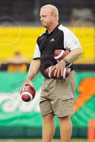 July 12, 2008; Hamilton, ON, CAN; Hamilton Tiger-Cats quarterback coaching consultant Danny McManus prior to the CFL football game against the Saskatchewan Roughriders at Ivor Wynne Stadium. The Roughriders defeated the Tiger-Cats 33-28. Mandatory Credit: Ron Scheffler.