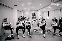 pre-training meeting<br /> <br /> Team Trek-Segafredo men's team<br /> training camp<br /> Mallorca, january 2019<br /> <br /> &copy;kramon