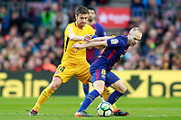 FC Barcelona's Andres Iniesta (r) and Atletico de Madrid's Gabi Fernandez during La Liga match. March 4,2018. (ALTERPHOTOS/Acero) /NortePhoto.com NORTEPHOTOMEXICO